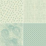 Set of 4 seamless doodle backgrounds. In two vintage colours Royalty Free Stock Photography
