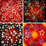 Set of 4 seamless stars patterns. Royalty Free Stock Images