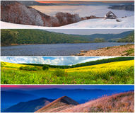 Set of the 4 seasons landscape Stock Image