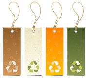 Set of 4 tags with recycling icons vector illustration