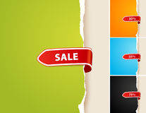 Set of 4 teared papers with sale bar. Stock Photos