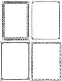 Set of 4 Vintage Frames. Collection of four old and lightly distressed ornate frames from the nineteenth century. Black isolated on white. Each approximately 9x7 Royalty Free Stock Photos