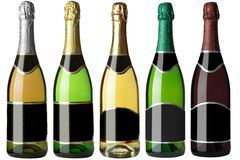 Set 5 bottles with black labels Royalty Free Stock Photography