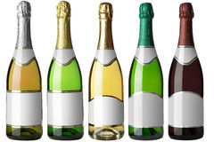 Set 5 bottles with white labels Stock Photography