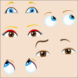 Set of 5 cartoon eyes. Stock Photography
