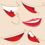 Set of 5 cartoon mouths. royalty free illustration