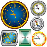 Set of 5 Clocks and Compass Stock Image