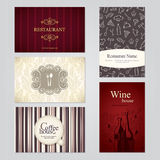 Set of 5 detailed business cards Royalty Free Stock Photo