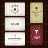 Set of 5 detailed business cards. For cafe and restaurant Royalty Free Stock Photos
