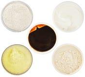 Set of 5 different dermal masks and scrubs Stock Images