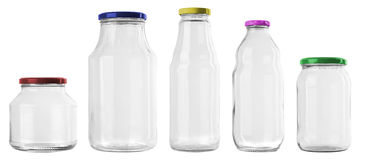 Set of 5 empty jar Royalty Free Stock Image