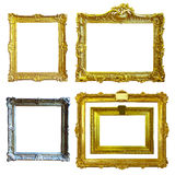 Set of 5 gold frames Stock Image