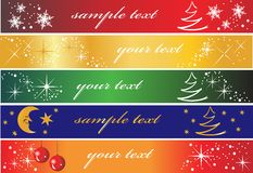 Set of 5 holiday banners. Useful also as greeting cards. Eps file available Royalty Free Stock Photography