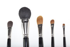 A set of 5 make-up brushes Stock Photos