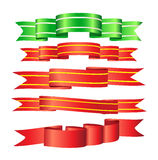 Set of 5 ribbons Royalty Free Stock Images