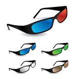 Set of 5 sunglasses including 3d vision Stock Photography