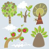 Set of 5  trees Royalty Free Stock Photography