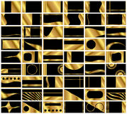 Set of 54 Very Elegant Business Card Backgrounds. A collection of 54 very elegant  business card backgrounds in black and gold. Formatted in standard business Royalty Free Stock Photo