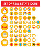 Set of 56 real estate icons. Set of 56 yellow real estate icons royalty free illustration