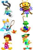 Set of 6 animals Royalty Free Stock Image