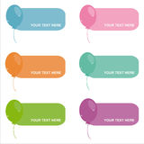 Set of 6 balloons frames Stock Photography