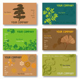 Set of 6 Business Cards in Green and Brown. Vegetal and Floral Patterns. Available in Vector Format stock illustration