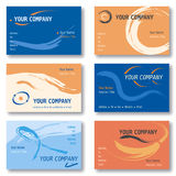 Set of 6 Business Cards in Orange and Blue Stock Photography