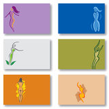 Set of 6 Business Cards - Woman Wellness Health Stock Images