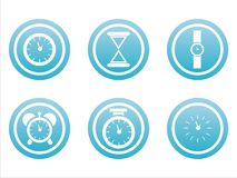 Set of 6 clock signs Royalty Free Stock Images