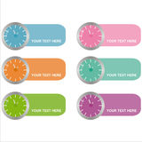 Set of 6 clocks frames Stock Photography