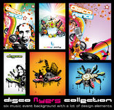 Set of 6 Colorful Background for Discoteque Flyers Royalty Free Stock Photography