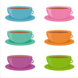 Set of 6 colorful cups icons Stock Photos