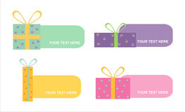 Set of 6 colorful gifts frames Royalty Free Stock Photos