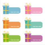 Set of 6 colorful gifts frames Royalty Free Stock Images