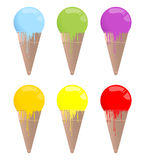 Set of 6 colorful ice-creams icons Stock Image