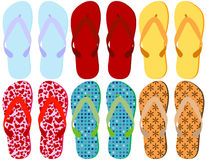 Set of 6 Colorful Sandals. Isolated on white Stock Images