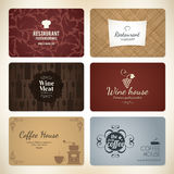Set of 6 detailed business cards Royalty Free Stock Images