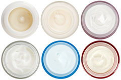 Set of 6 different dermal creams and gels Stock Photos