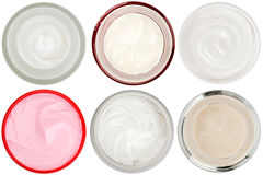 Set of 6 different dermal creams and gels Royalty Free Stock Photo