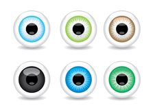 Set of 6 different eye balls Royalty Free Stock Photo