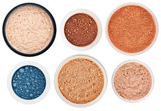 Set of 6 different rouge and eye shadow Stock Photo