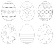 Set of 6 Easter eggs royalty free stock photos