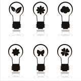 Set of 6 eco lamp icons Stock Photo