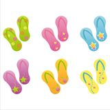 Set of 6 flip-flops Stock Photography