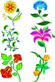 Set of 6 flowers Royalty Free Stock Photos