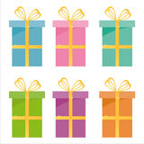 Set of 6 gifts icons Royalty Free Stock Photography