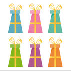 Set of 6 gifts icons Stock Photo