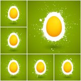 Set of 6 Happy Easter vector backgrounds. Vector illustration Stock Photos