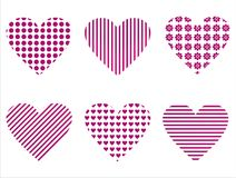 Set of 6 hearts icons Stock Photos