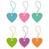Set of 6 hearts tags Royalty Free Stock Image